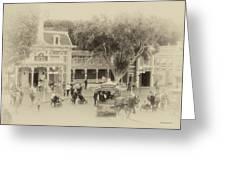 Horse And Trolley Turning Main Street Disneyland Heirloom Greeting Card