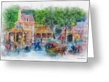 Horse And Trolley Turning Main Street Disneyland Photo Art 01 Greeting Card