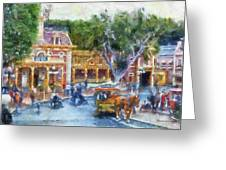 Horse And Trolley Turning Main Street Disneyland Photo Art 02 Greeting Card