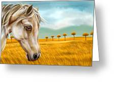 Horse At Yellow Paddy Field Greeting Card