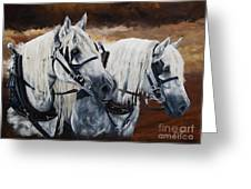 Horse Collar Workers Greeting Card