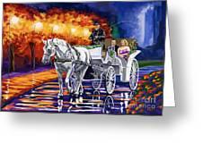 Horse Drawn Carriage Night Greeting Card