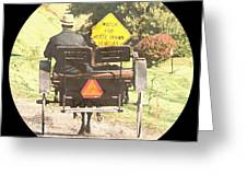 Horse Drawn Vechicles Round Greeting Card