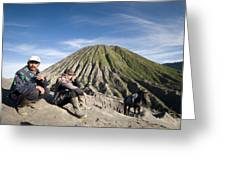 Horse Drivers Near A Volcano At Bromo Java Indonesia Greeting Card