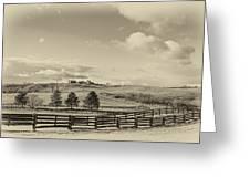 Horse Farm Sepia Greeting Card