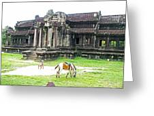 Horse In Front Of Outer Building In Angkor Wat In Angkin Angkor Wat Archeological Park-cambodia Greeting Card