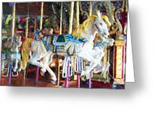Horse On Carousel Greeting Card