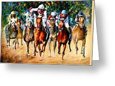 Horse Race - Palette Knife Oil Painting On Canvas By Leonid Afremov Greeting Card