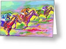 Horse Race  Three Greeting Card