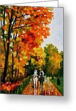 Horseback Stroll - Palette Knife Oil Painting On Canvas By Leonid Afremov Greeting Card