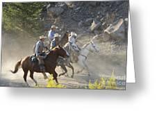 Horsemen Marching In Dust Greeting Card