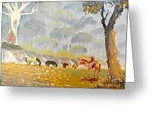 Horses Drinking In The Early Morning Mist Greeting Card
