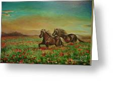 Horses In The Field With Poppies Greeting Card