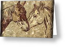 Horses On Marble Greeting Card
