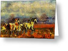 Horses On The Gogh Greeting Card