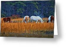 Horses On The March Greeting Card