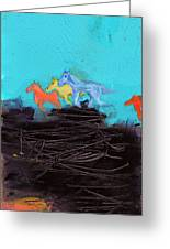 Horses Running On The Pass Greeting Card