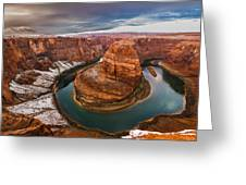 Horseshoe Bend In Snow  Greeting Card