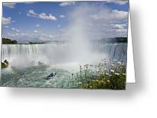 Horseshoe Falls With Maid Of The Mist Greeting Card by Peter Mintz