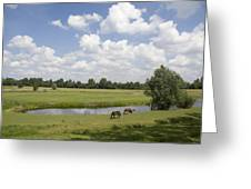 horseshoe shaped moat of Fort Elden Westerveld in park in Arnhem Netherlands Greeting Card