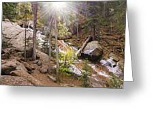 Horsethief Falls Sunburst - Cripple Creek Colorado Greeting Card
