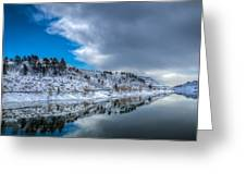 Horsetooth Reservoir Reflection Greeting Card by Harry Strharsky