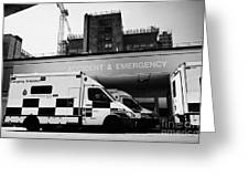 hospital accident and emergency entrance with ambulances London England UK Greeting Card
