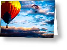 Hot Air Balloon And Powered Parachute Greeting Card by Bob Orsillo