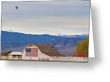 Hot Air Balloon Boulder Flag Barn And Eldora  Greeting Card