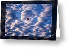 Hot Air Balloon In A Cloudy Sky Abstract Photograph Greeting Card