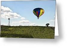 Hot Air Balloon In The Farmlands Greeting Card