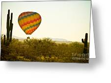 Hot Air Balloon In The Lush Arizona Desert With Saguaro Cactus Greeting Card