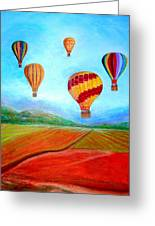 Hot Air Balloon Mural  Greeting Card by Anais DelaVega