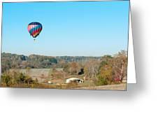Hot Air Balloon Over Farm Land Greeting Card