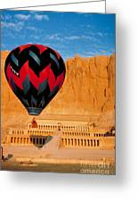 Hot Air Balloon Over Thebes Temple Greeting Card