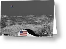 Hot Air Balloon With Usa Flag Barn God Bless The Usa Bwsc Greeting Card