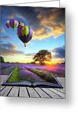 Hot Air Balloons And Lavender Book Greeting Card