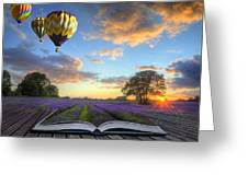 Hot Air Balloons Lavender Landscape Magic Book Pages Greeting Card