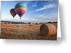 Hot Air Balloons Over Hay Bales Sunset Landscape Greeting Card