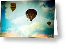 Hot Air Baloons In Blazing Sky Greeting Card