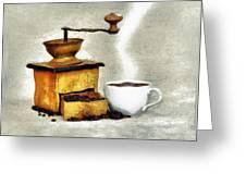 Hot Black Coffee Greeting Card