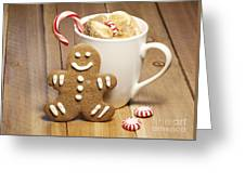 Hot Chocolate Toasted Marshmallows And A Gingerbread Cookie Greeting Card