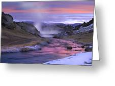 Hot Creek At Sunset Sierra Nevada Greeting Card