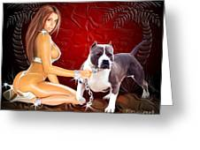 Hot Girl With Pit Bull Greeting Card