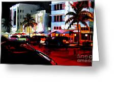 Hot Nights In South Beach - Oil Greeting Card by Michael Swanson