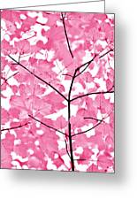 Hot Pink Leaves Melody Greeting Card