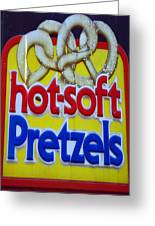 Hot Pretzels Greeting Card by Skip Willits