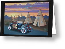 Hot Rod At The Wigwams Greeting Card