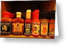 Hot Sauce Display Shelf Three Greeting Card