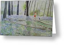 Hot Spring Bluebell Jogger Greeting Card